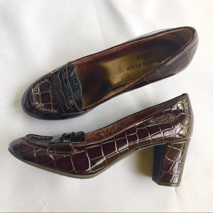 Anne Klein Patent Crocodile Loafer Pumps sz 6.5